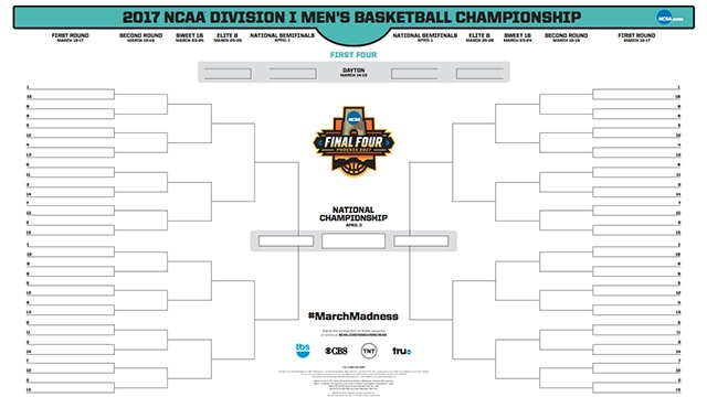 March Madness 2017 Printable Ncaa Tournament Bracket