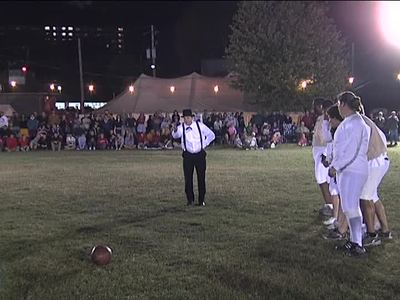 Mansfield's 2010 reenactment of the first-ever night football game in 1892